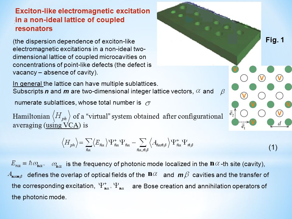 Exciton-like electromagnetic excitation in a non-ideal lattice of coupled resonators Hamiltonian of a virtual system obtained after configurational averaging (using VCA) is : (1) Fig.
