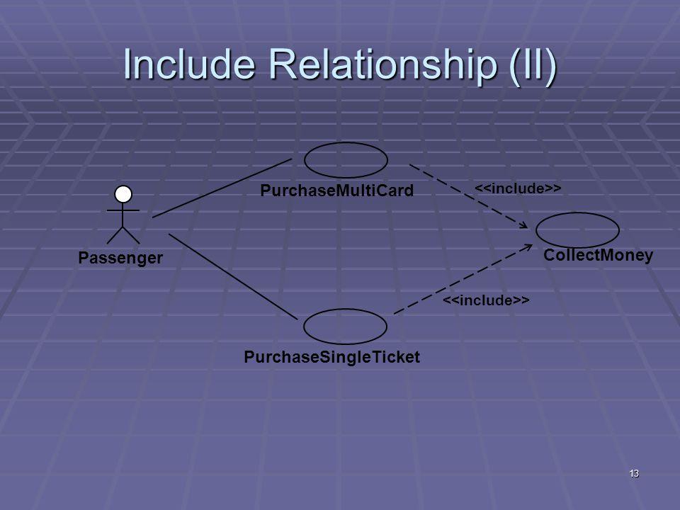 13 Include Relationship (II) Passenger PurchaseMultiCardPurchaseSingleTicket CollectMoney >