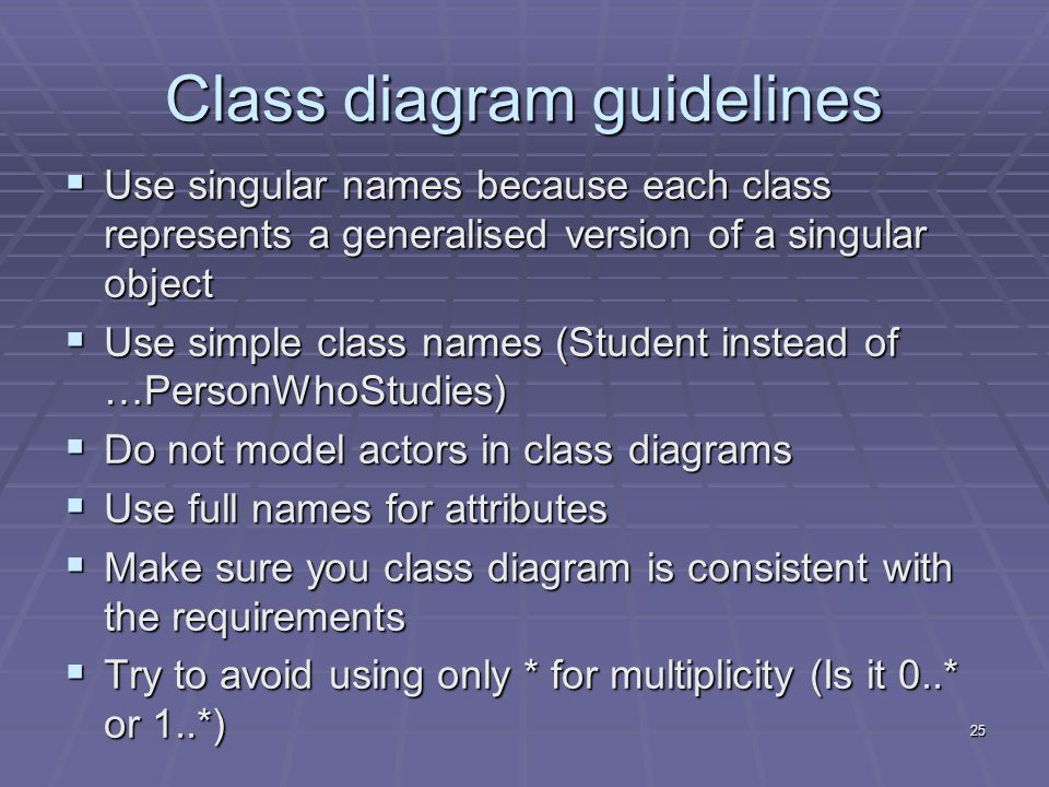 25 Class diagram guidelines  Use singular names because each class represents a generalised version of a singular object  Use simple class names (Student instead of …PersonWhoStudies)  Do not model actors in class diagrams  Use full names for attributes  Make sure you class diagram is consistent with the requirements  Try to avoid using only * for multiplicity (Is it 0..* or 1..*)