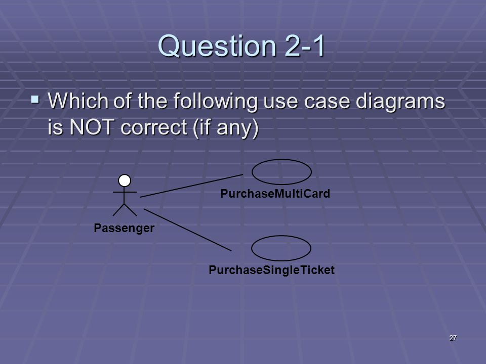 27 Question 2-1  Which of the following use case diagrams is NOT correct (if any) Passenger PurchaseMultiCardPurchaseSingleTicket