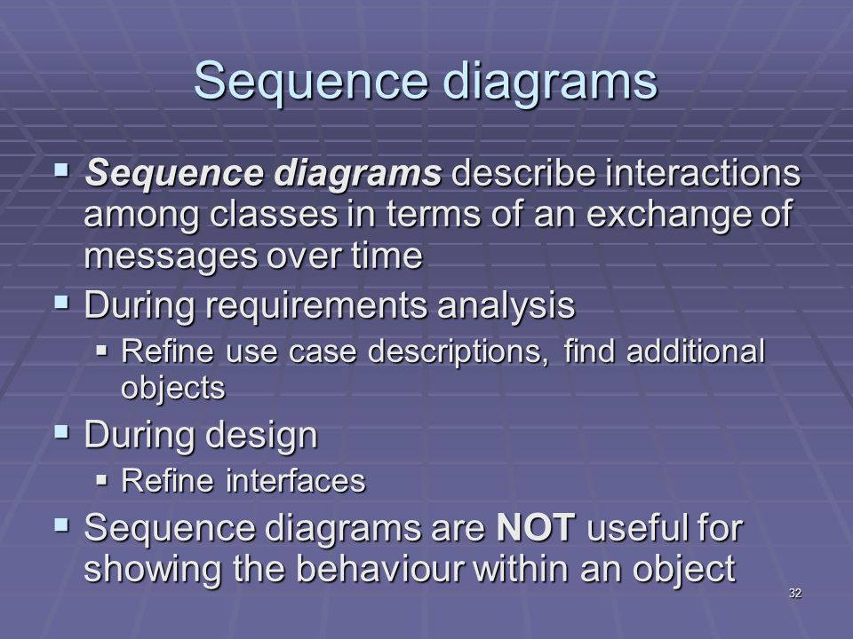 32 Sequence diagrams  Sequence diagrams describe interactions among classes in terms of an exchange of messages over time  During requirements analysis  Refine use case descriptions, find additional objects  During design  Refine interfaces  Sequence diagrams are NOT useful for showing the behaviour within an object