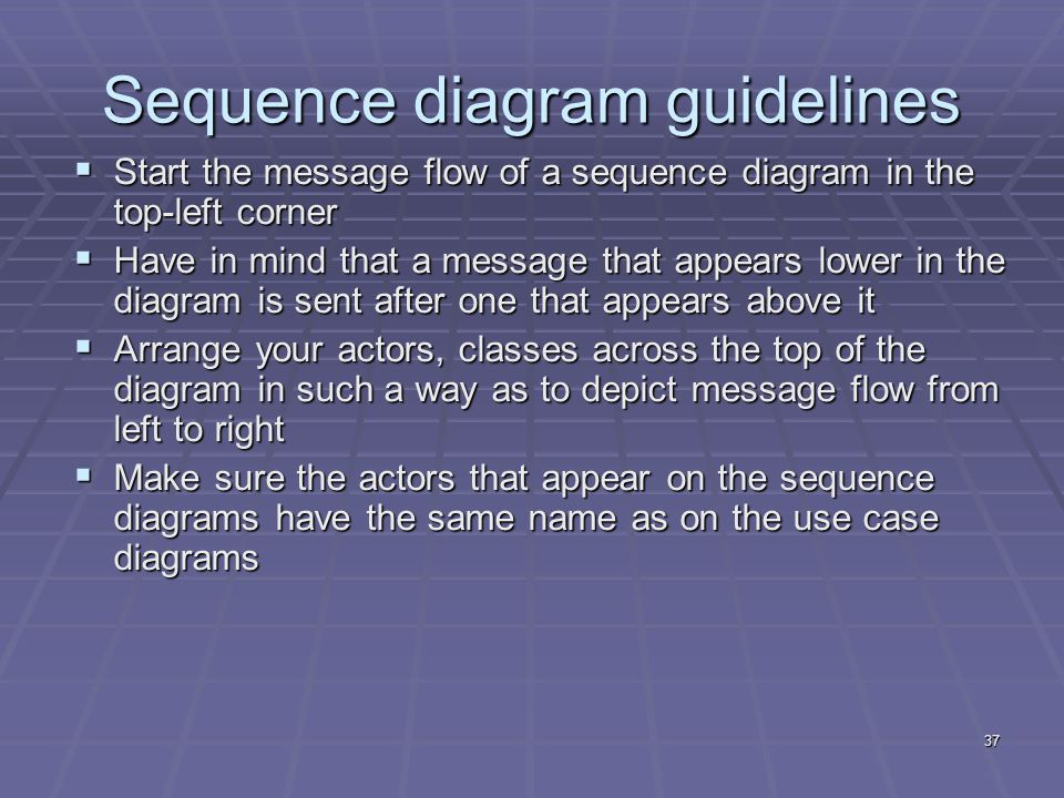 37 Sequence diagram guidelines  Start the message flow of a sequence diagram in the top-left corner  Have in mind that a message that appears lower in the diagram is sent after one that appears above it  Arrange your actors, classes across the top of the diagram in such a way as to depict message flow from left to right  Make sure the actors that appear on the sequence diagrams have the same name as on the use case diagrams