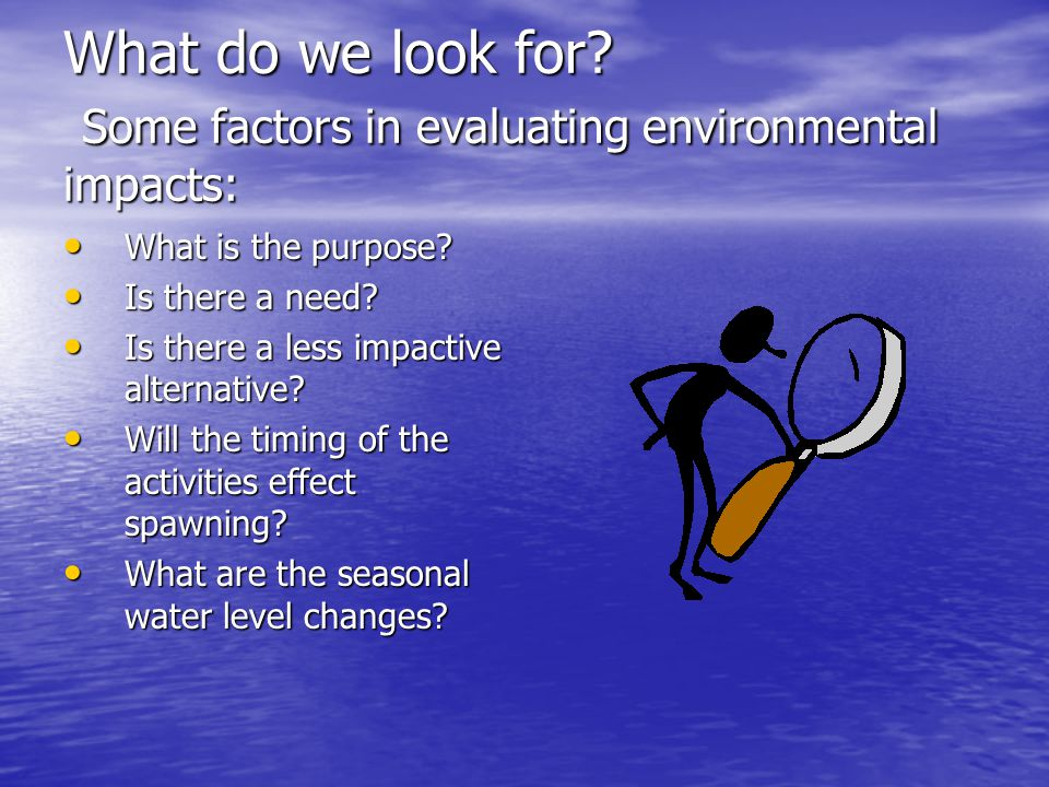 What do we look for. Some factors in evaluating environmental impacts: What is the purpose.
