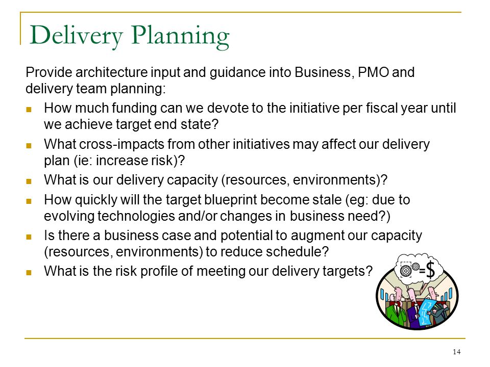 Delivery Planning Provide architecture input and guidance into Business, PMO and delivery team planning: How much funding can we devote to the initiat