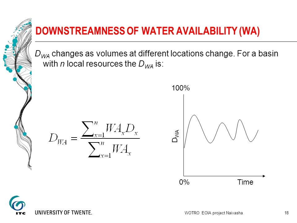 DOWNSTREAMNESS OF WATER AVAILABILITY (WA) D WA changes as volumes at different locations change.