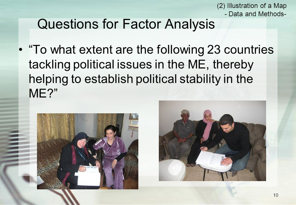 Questions for Factor Analysis To what extent are the following 23 countries tackling political issues in the ME, thereby helping to establish political stability in the ME (2) Illustration of a Map - Data and Methods- 10