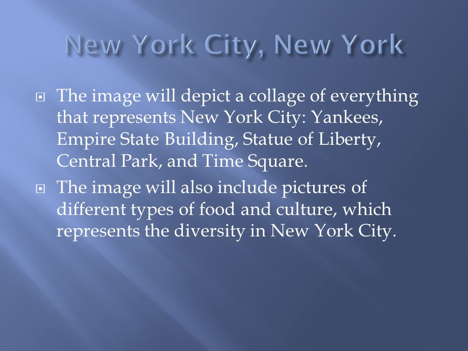  The image will depict a collage of everything that represents New York City: Yankees, Empire State Building, Statue of Liberty, Central Park, and Time Square.