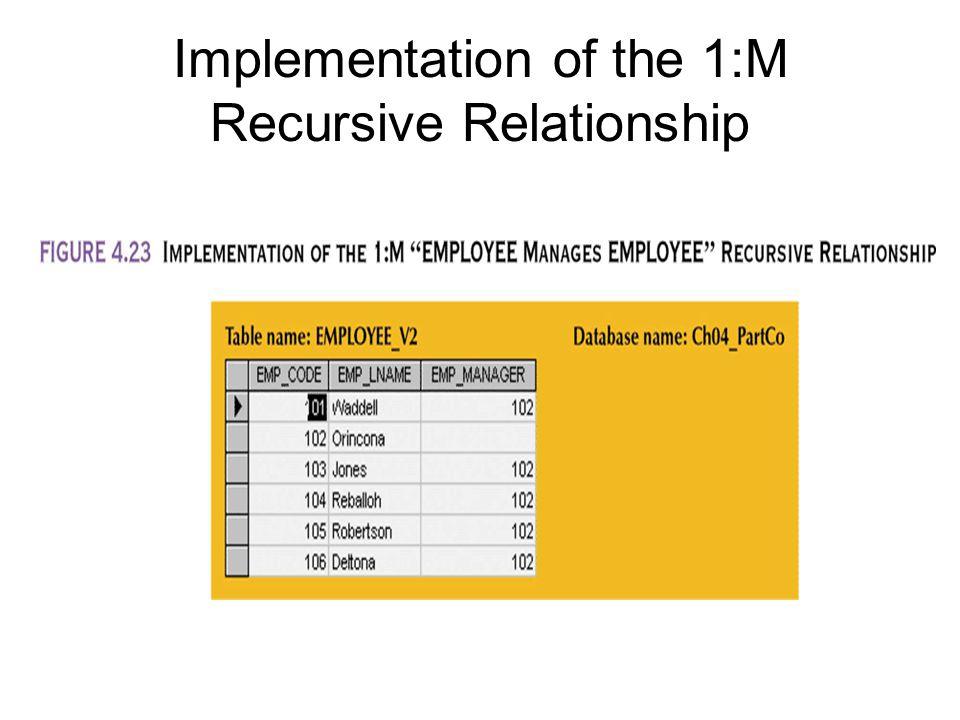 Implementation of the 1:M Recursive Relationship