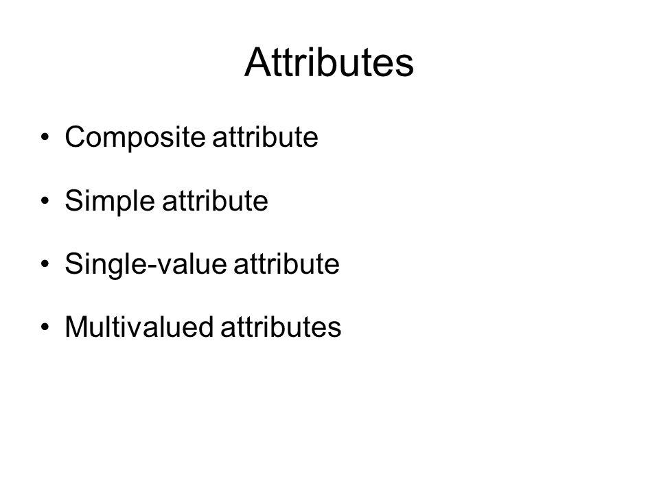 Attributes Composite attribute Simple attribute Single-value attribute Multivalued attributes