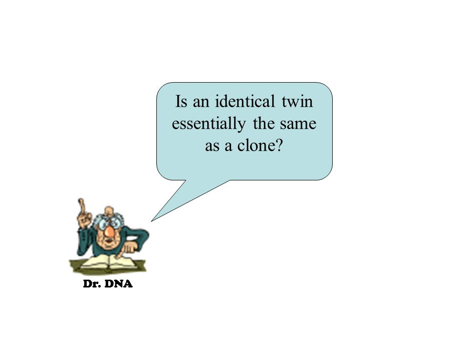 Dr. DNA Is an identical twin essentially the same as a clone