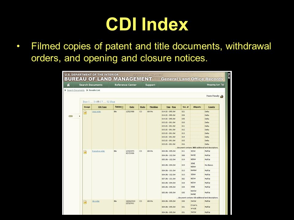 CDI Index Filmed copies of patent and title documents, withdrawal orders, and opening and closure notices.