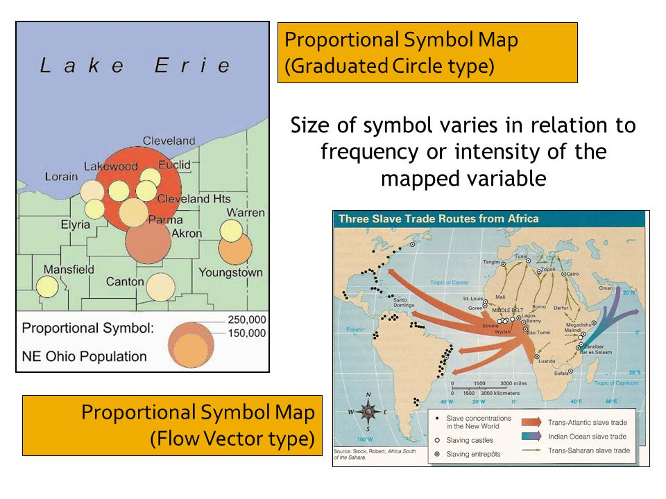 Proportional Symbol Map (Graduated Circle type) Size of symbol varies in relation to frequency or intensity of the mapped variable Proportional Symbol