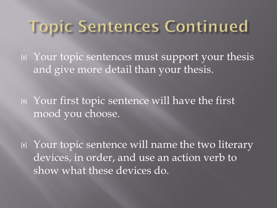  Your topic sentences must support your thesis and give more detail than your thesis.