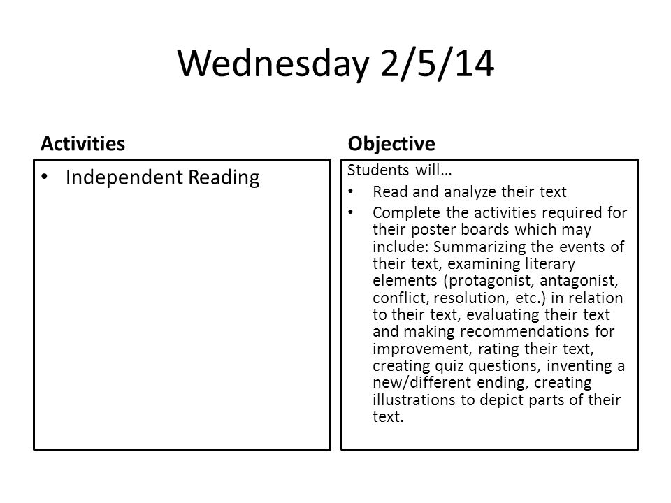 Wednesday 2/5/14 Activities Independent Reading Objective Students will… Read and analyze their text Complete the activities required for their poster