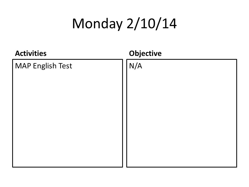 Monday 2/10/14 Activities MAP English Test Objective N/A