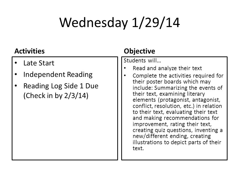 Wednesday 1/29/14 Activities Late Start Independent Reading Reading Log Side 1 Due (Check in by 2/3/14) Objective Students will… Read and analyze their text Complete the activities required for their poster boards which may include: Summarizing the events of their text, examining literary elements (protagonist, antagonist, conflict, resolution, etc.) in relation to their text, evaluating their text and making recommendations for improvement, rating their text, creating quiz questions, inventing a new/different ending, creating illustrations to depict parts of their text.