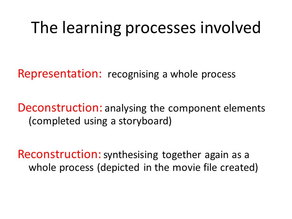The learning processes involved Representation: recognising a whole process Deconstruction: analysing the component elements (completed using a storyb