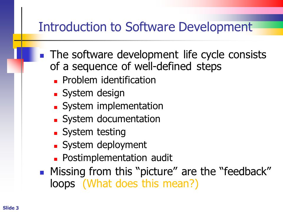 Slide 3 Introduction to Software Development The software development life cycle consists of a sequence of well-defined steps Problem identification System design System implementation System documentation System testing System deployment Postimplementation audit Missing from this picture are the feedback loops (What does this mean?)