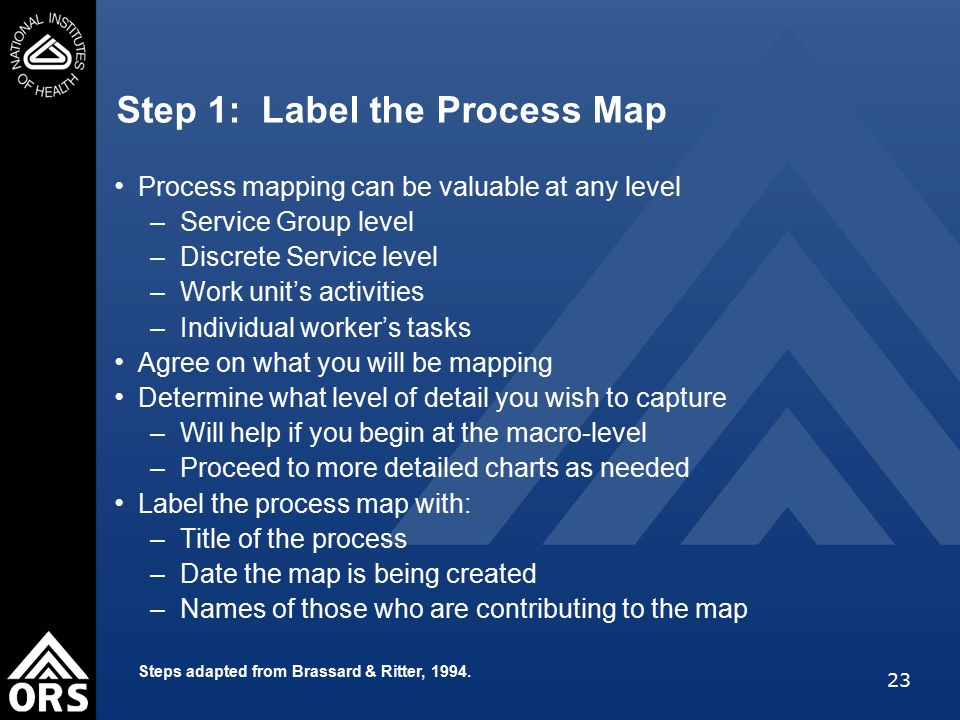23 Step 1: Label the Process Map Process mapping can be valuable at any level –Service Group level –Discrete Service level –Work unit's activities –Individual worker's tasks Agree on what you will be mapping Determine what level of detail you wish to capture –Will help if you begin at the macro-level –Proceed to more detailed charts as needed Label the process map with: –Title of the process –Date the map is being created –Names of those who are contributing to the map Steps adapted from Brassard & Ritter, 1994.