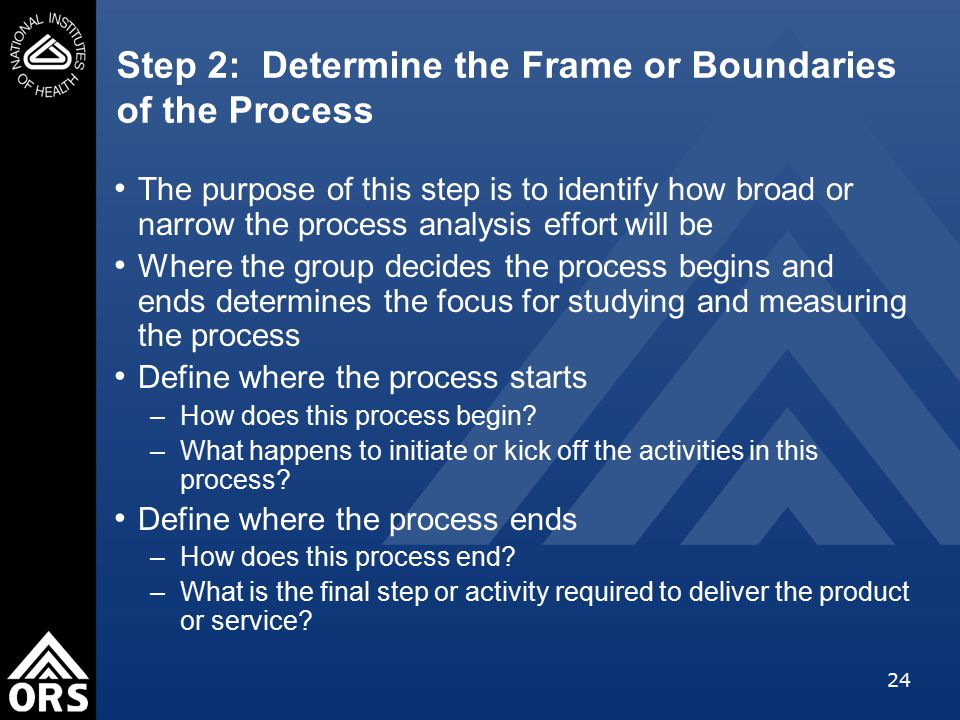 24 Step 2: Determine the Frame or Boundaries of the Process The purpose of this step is to identify how broad or narrow the process analysis effort will be Where the group decides the process begins and ends determines the focus for studying and measuring the process Define where the process starts –How does this process begin.