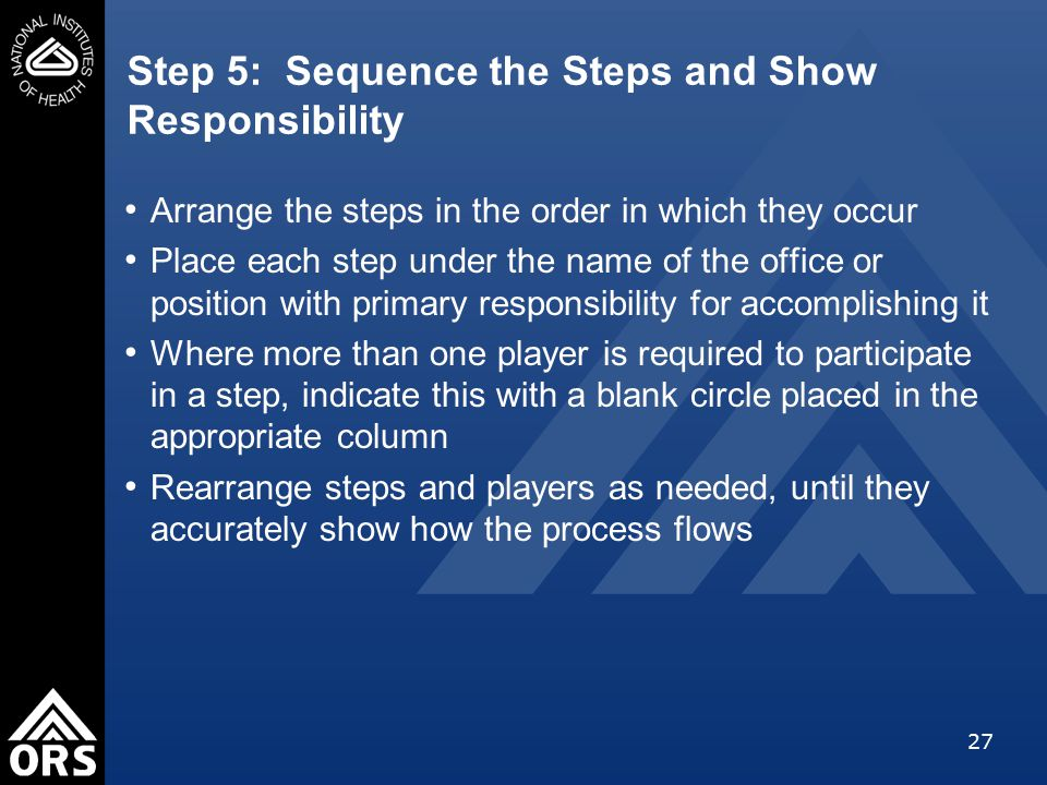 27 Step 5: Sequence the Steps and Show Responsibility Arrange the steps in the order in which they occur Place each step under the name of the office or position with primary responsibility for accomplishing it Where more than one player is required to participate in a step, indicate this with a blank circle placed in the appropriate column Rearrange steps and players as needed, until they accurately show how the process flows