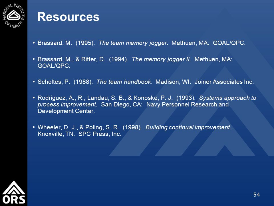 54 Resources Brassard. M. (1995). The team memory jogger.