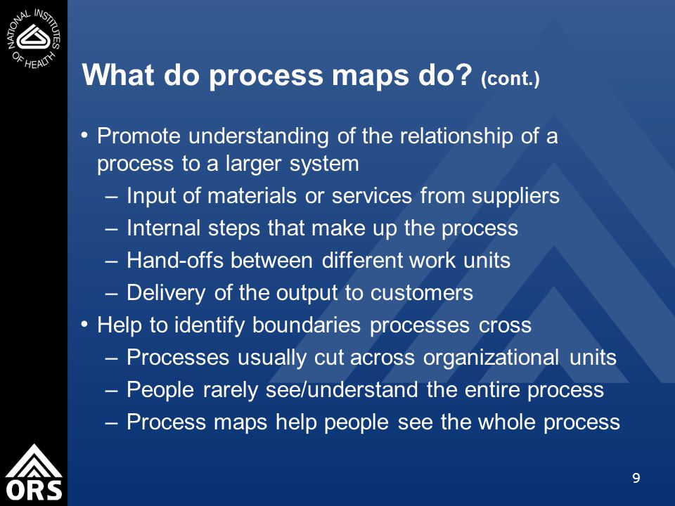 9 What do process maps do.
