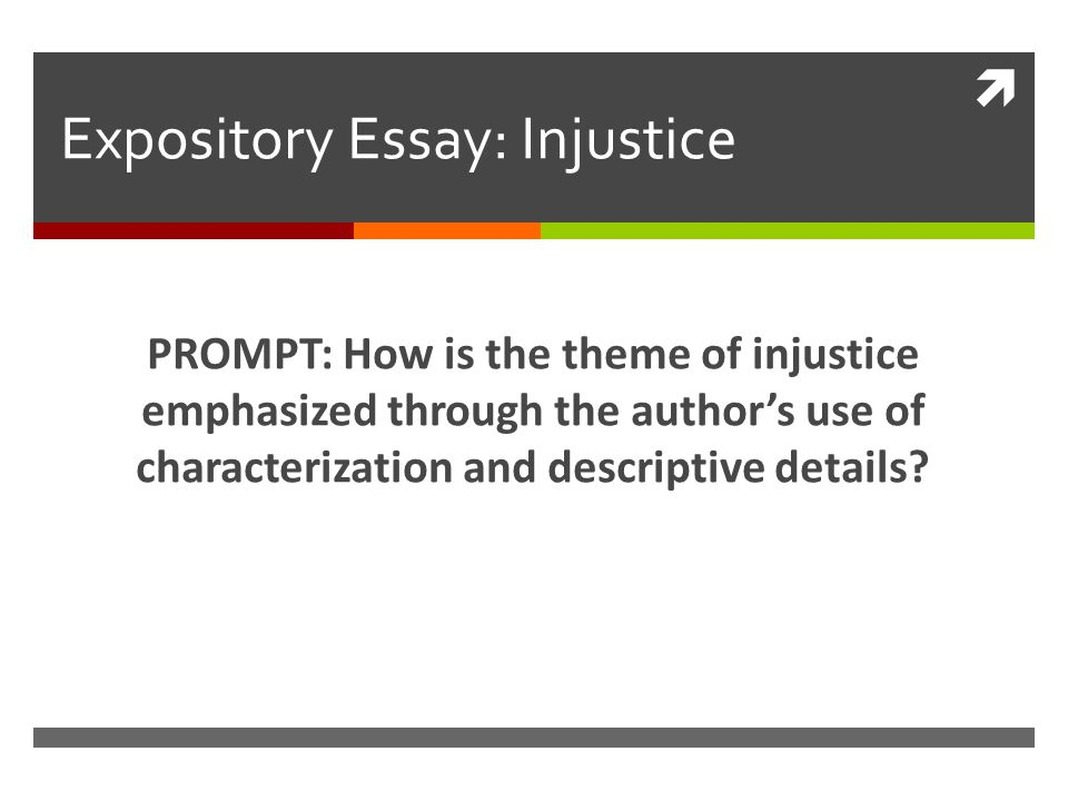  Expository Essay: Injustice PROMPT: How is the theme of injustice emphasized through the author's use of characterization and descriptive details
