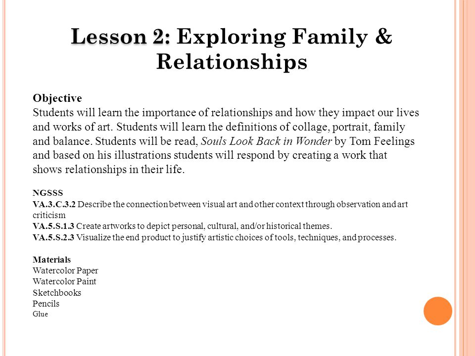 Lesson 2: Lesson 2: Exploring Family & Relationships Objective Students will learn the importance of relationships and how they impact our lives and works of art.