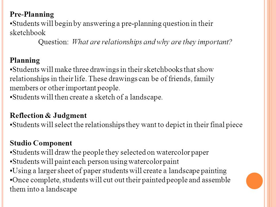 Pre-Planning Students will begin by answering a pre-planning question in their sketchbook Question: What are relationships and why are they important.