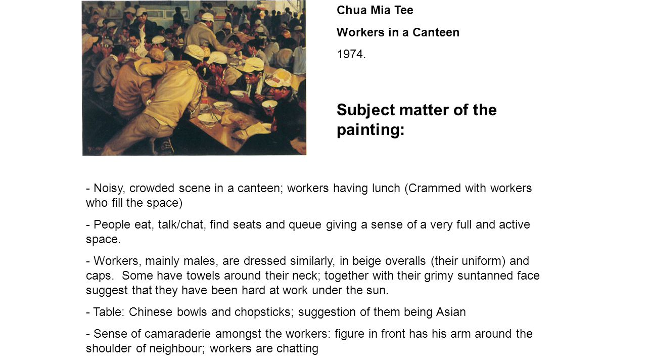 Chua Mia Tee Workers in a Canteen 1974.