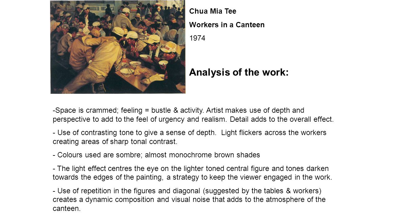 Chua Mia Tee Workers in a Canteen 1974 Analysis of the work: -Space is crammed; feeling = bustle & activity.