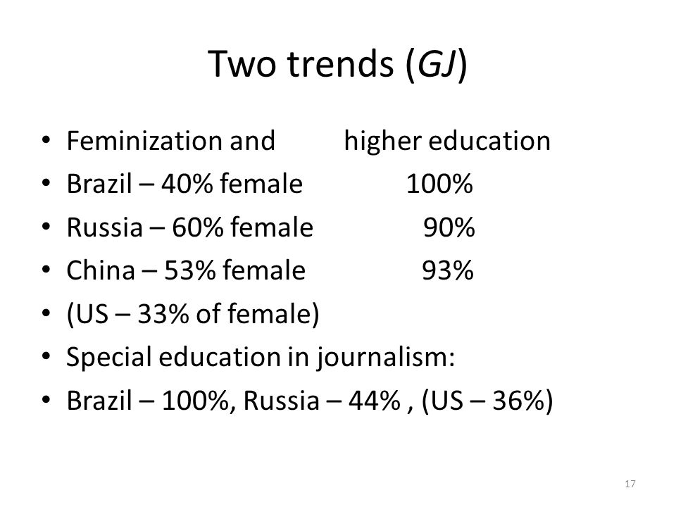 Two trends (GJ) Feminization and higher education Brazil – 40% female 100% Russia – 60% female 90% China – 53% female 93% (US – 33% of female) Special education in journalism: Brazil – 100%, Russia – 44%, (US – 36%) 17