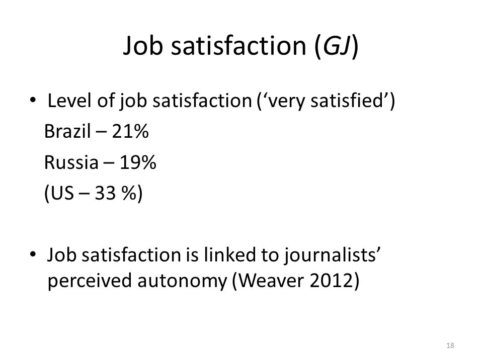 Job satisfaction (GJ) Level of job satisfaction ('very satisfied') Brazil – 21% Russia – 19% (US – 33 %) Job satisfaction is linked to journalists' perceived autonomy (Weaver 2012) 18