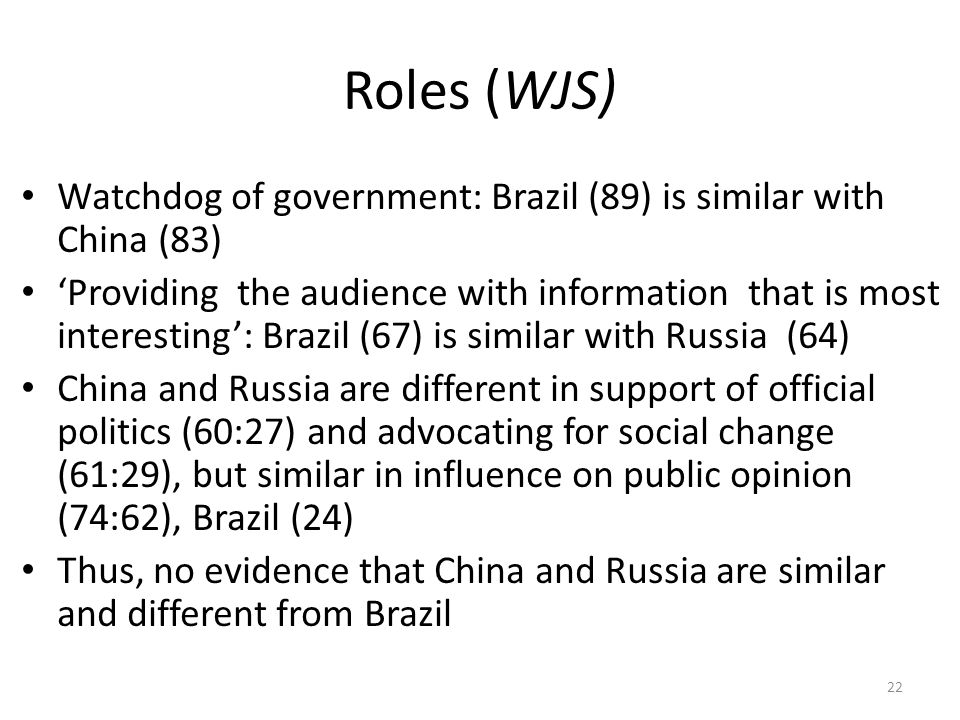 Roles (WJS) Watchdog of government: Brazil (89) is similar with China (83) 'Providing the audience with information that is most interesting': Brazil (67) is similar with Russia (64) China and Russia are different in support of official politics (60:27) and advocating for social change (61:29), but similar in influence on public opinion (74:62), Brazil (24) Thus, no evidence that China and Russia are similar and different from Brazil 22