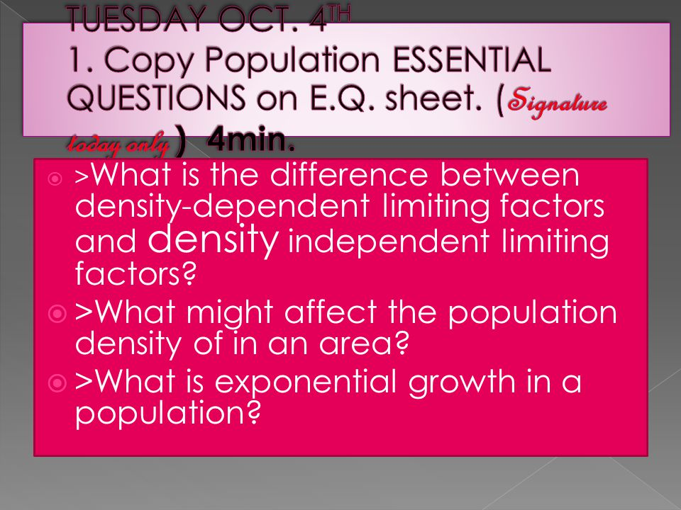  > What is the difference between density-dependent limiting factors and density independent limiting factors.