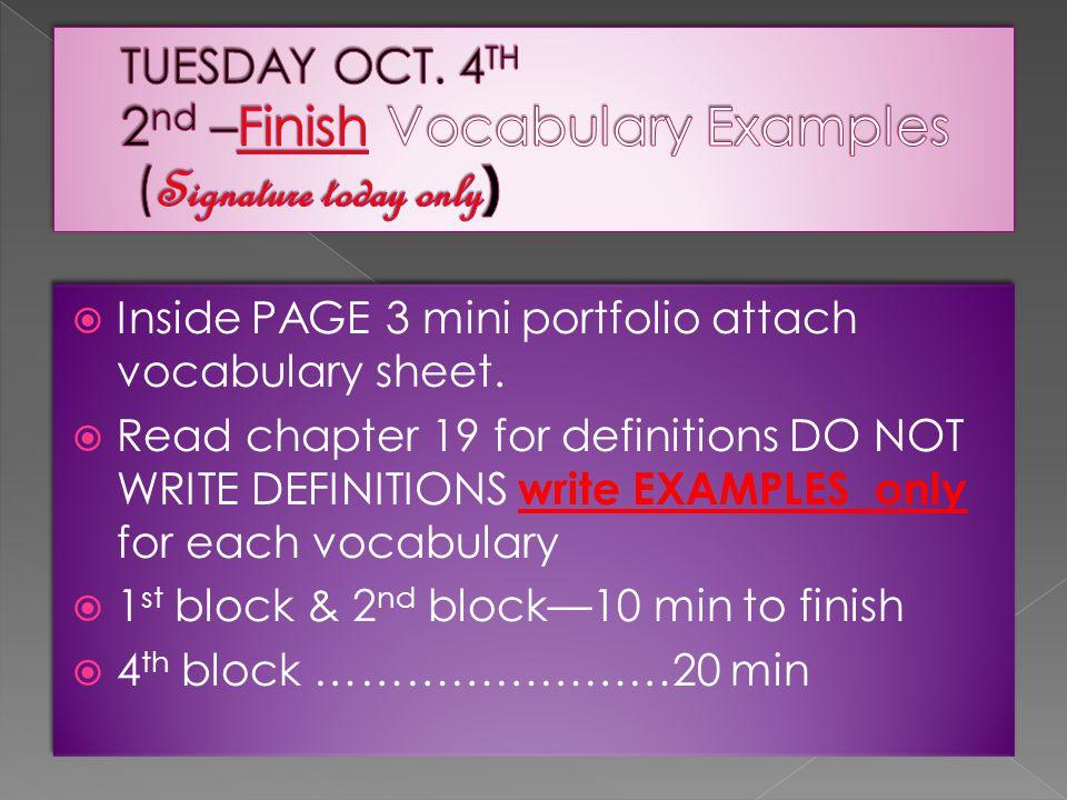  Inside PAGE 3 mini portfolio attach vocabulary sheet.