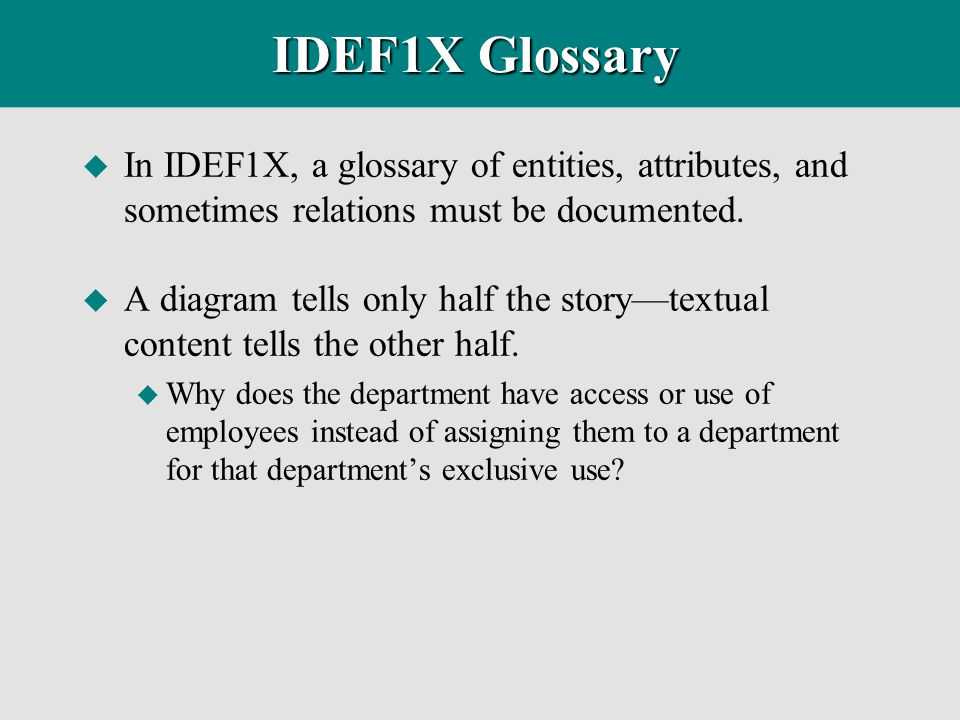 IDEF1X Glossary u In IDEF1X, a glossary of entities, attributes, and sometimes relations must be documented. u A diagram tells only half the story—tex