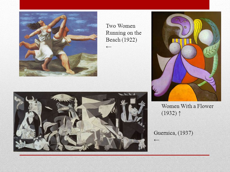 Women With a Flower (1932) ↑ Guernica, (1937) ← Two Women Running on the Beach (1922) ←