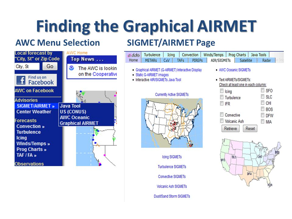 Finding the Graphical AIRMET AWC Menu SelectionSIGMET/AIRMET Page