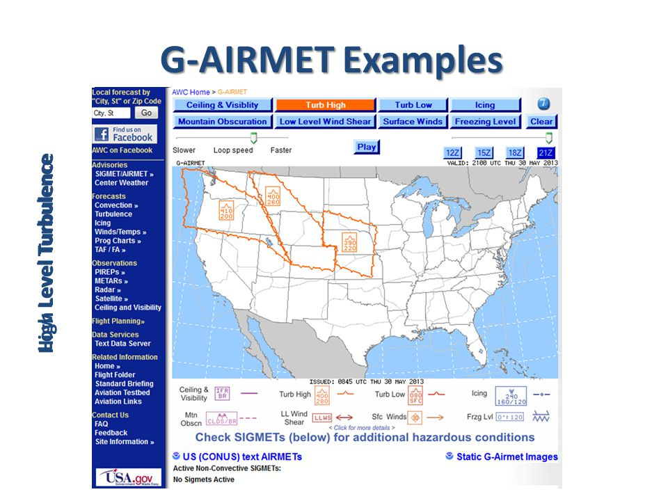 G-AIRMET Examples Low Level Turbulence High Level Turbulence