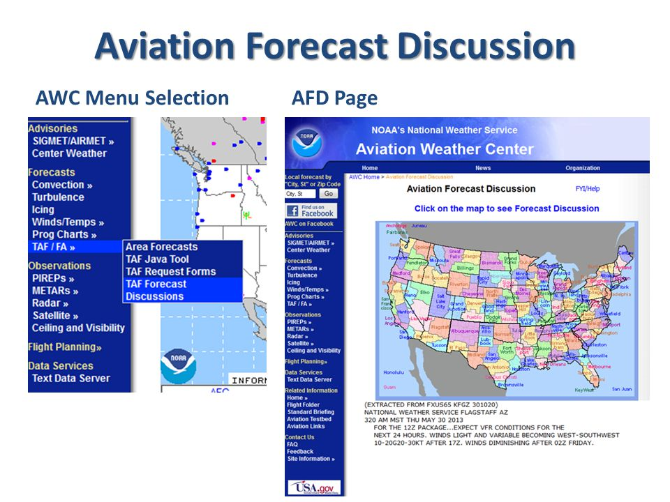 Aviation Forecast Discussion AWC Menu SelectionAFD Page