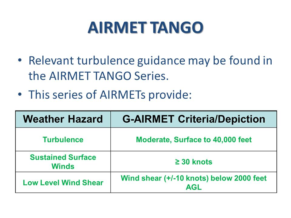 AIRMET TANGO Relevant turbulence guidance may be found in the AIRMET TANGO Series.