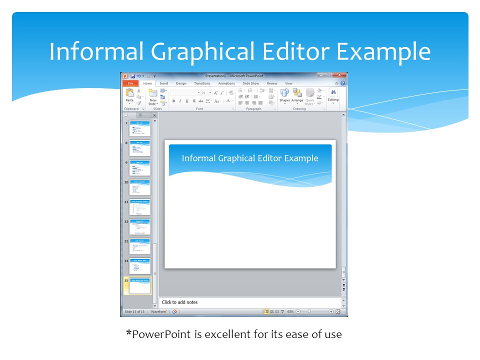 Informal Graphical Editor Example *PowerPoint is excellent for its ease of use