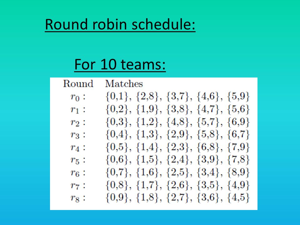 Round robin schedule: For 10 teams: