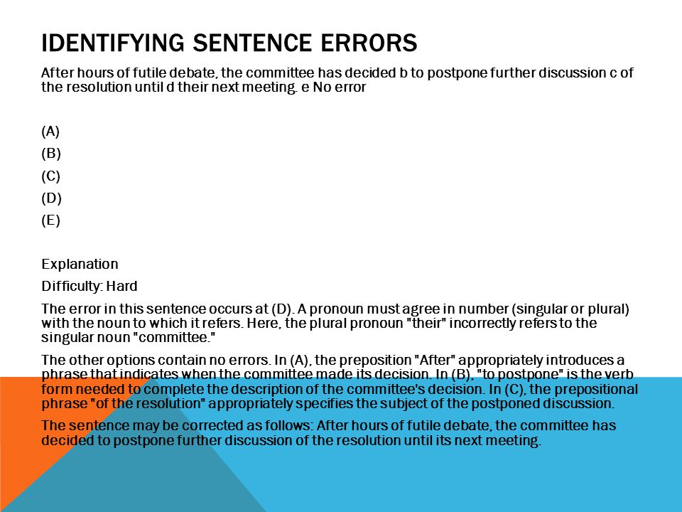 IDENTIFYING SENTENCE ERRORS After hours of futile debate, the committee has decided b to postpone further discussion c of the resolution until d their next meeting.