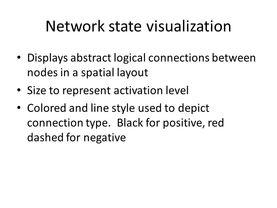 Network state visualization Displays abstract logical connections between nodes in a spatial layout Size to represent activation level Colored and line style used to depict connection type.