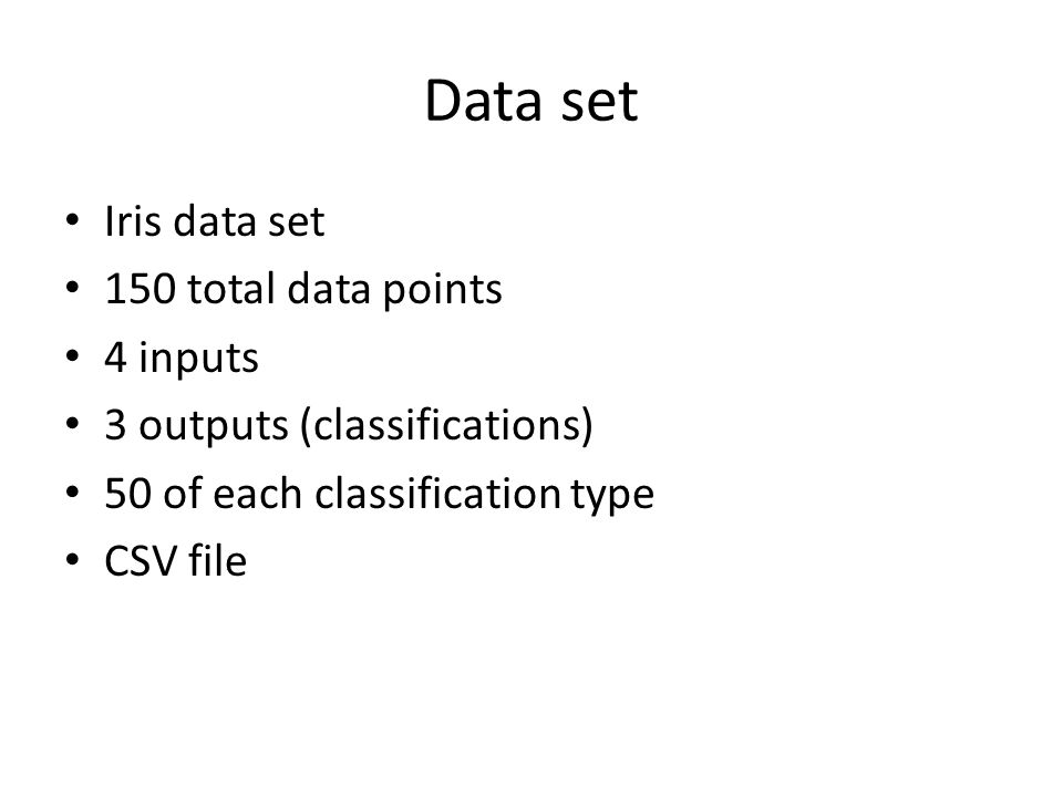 Data set Iris data set 150 total data points 4 inputs 3 outputs (classifications) 50 of each classification type CSV file