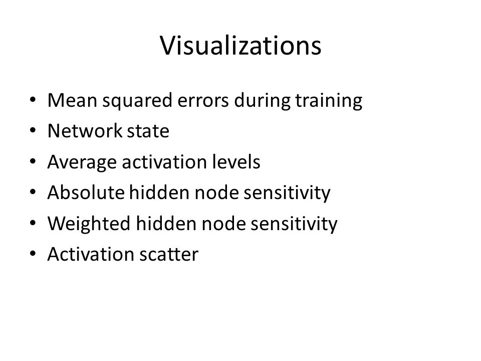 Visualizations Mean squared errors during training Network state Average activation levels Absolute hidden node sensitivity Weighted hidden node sensitivity Activation scatter
