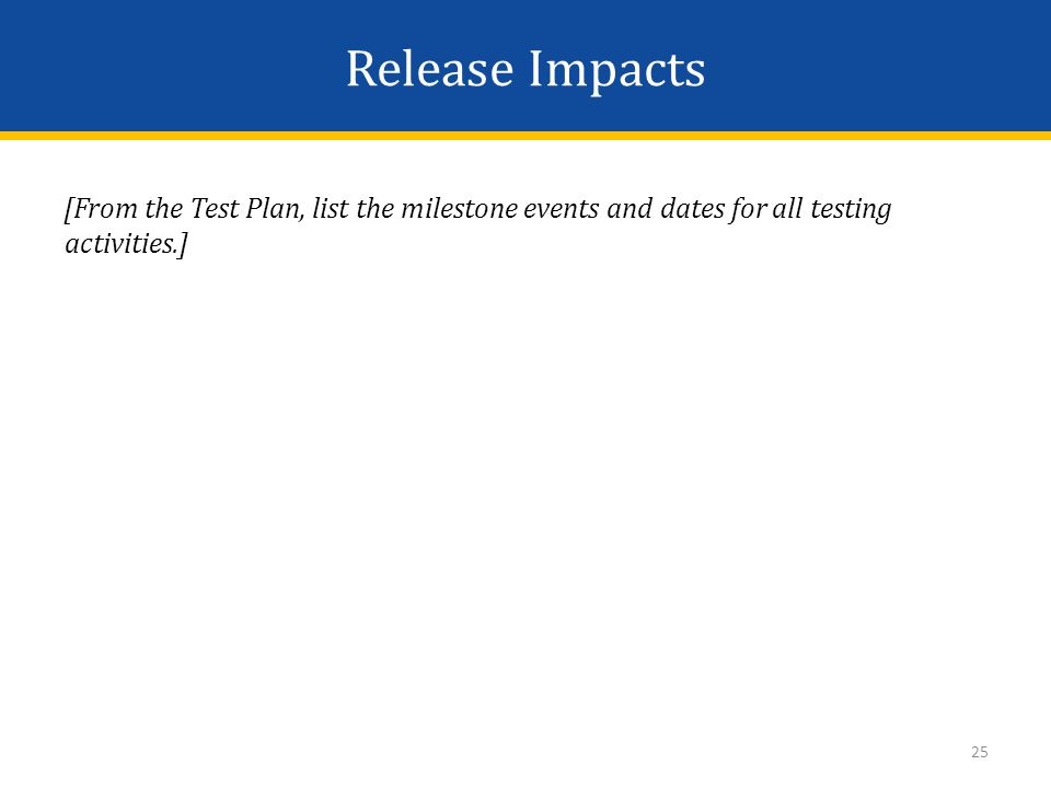 Release Impacts [From the Test Plan, list the milestone events and dates for all testing activities.] 25